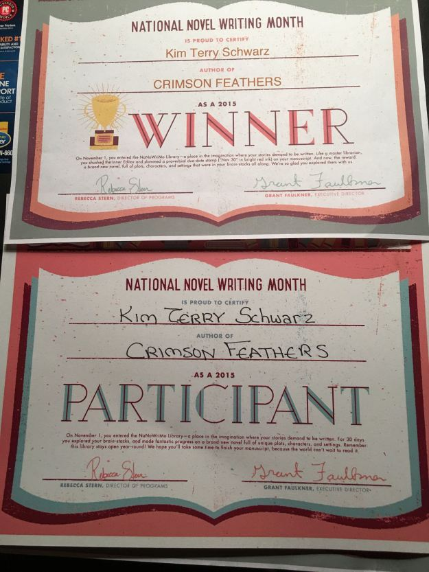 NaNoWriMo 2015 Workshop Participant and Winner Certificates